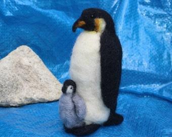 Penguin & chick needle felting kit - for beginners