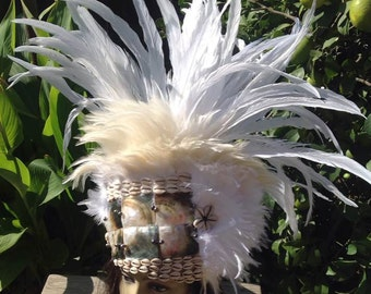 Polynesian Princess Headpiece. Tahitian & Rarotongan/Cook Island Headpiece/Headdress. Rooster Tail Feathers, Black Lip MOP Shells And Pearls