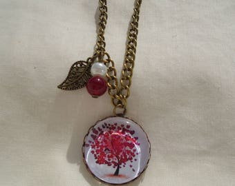 Tree of life red cabochon necklace