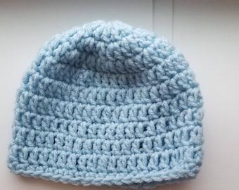 Baby Beanie | Newborn Hats | Blue Beanie For Babies | Hospital Hats | Crochet Baby Hat