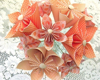 Orange Origami Flower Bouquet - Paper Flowers - First Paper Anniversary, 1st Anniversary Gift - Housewarming - Get Well Gift
