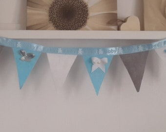 Nursery Bunting Boy Flags Baby Room Decor