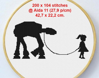 Girl walking her ATAT - (200 x 104 stitches) Cross Stitch Pattern - Instant Download
