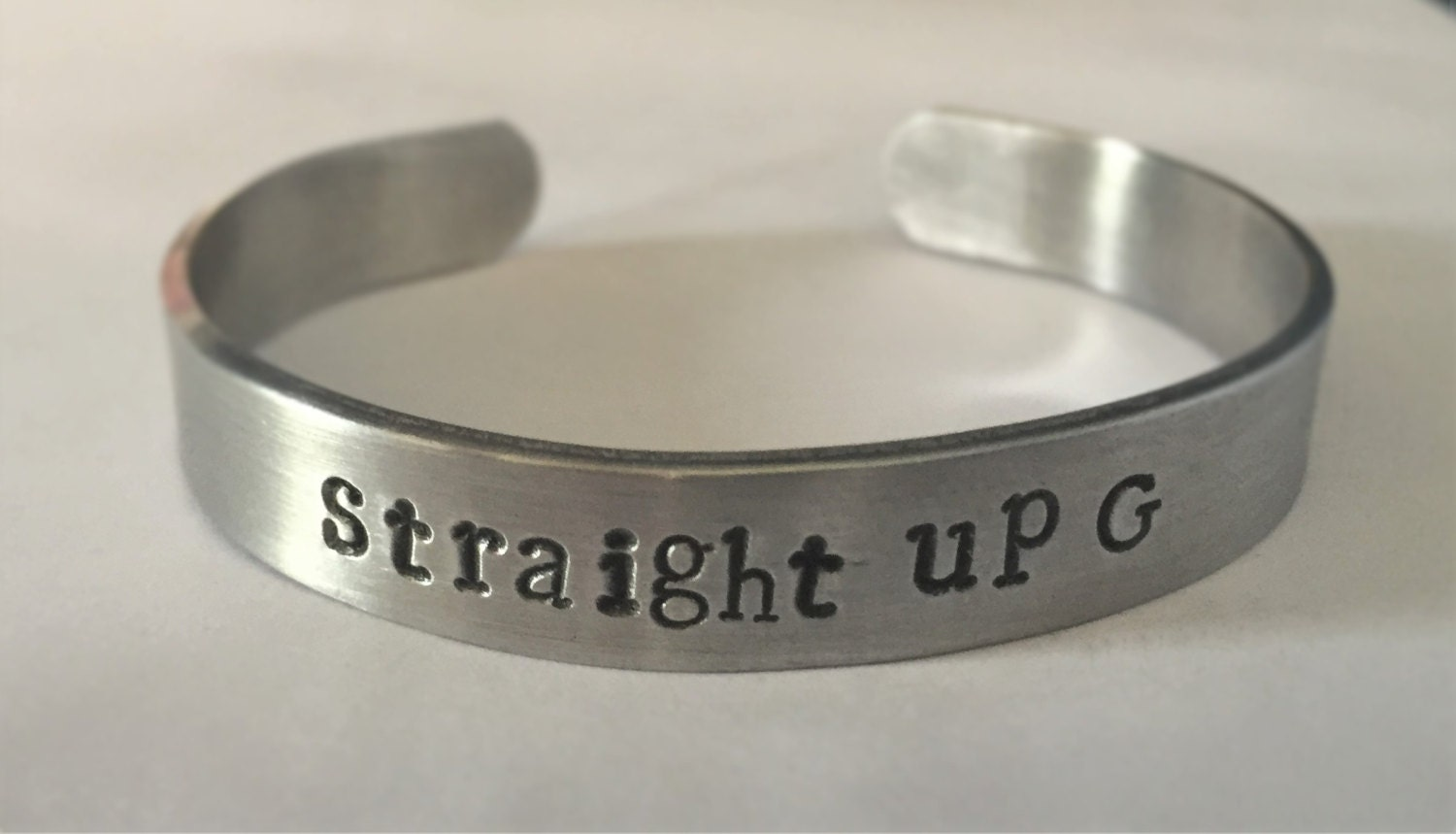 STRAIGHT UP G, gangster, cuff bracelet, stamped bracelet, stamped jewelry, copper jewelry, copper bracelet, wrap bracelet, bangle bracelet