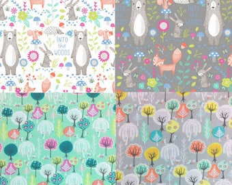 Nature Fabric, Woodland Animals Fabric, Craft Fabric, Into The Woods Bear Fabric, Fox Fabric, Trees Floral Fabric, Green Fabric, Upholstery