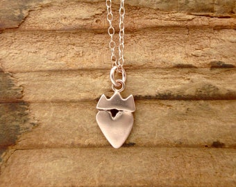 Claddagh - Rose Gold Heart Necklace - Rose Gold Crown Heart Pendant