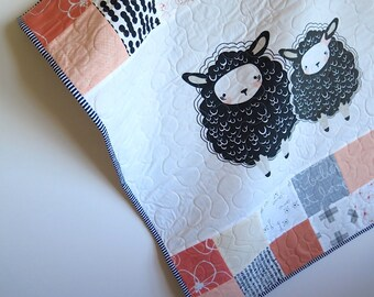 baby quilt, baby girl quilt, sheep, peach orange grey baby blanket