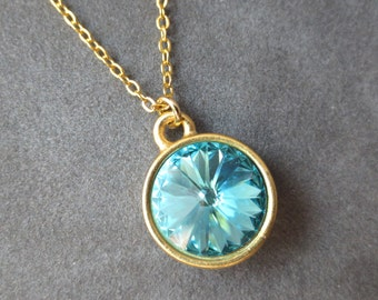 Blue Zircon Jewelry, Gold December Birthstone Necklace, December Blue Zircon Necklace, Swarovski Crystal Birthstone Jewelry