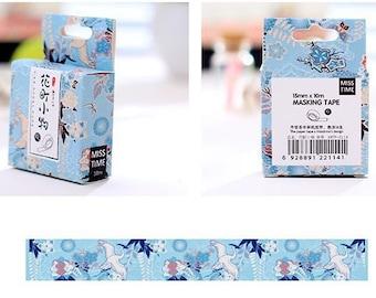 Crane Washi Tape / Japanese Washi Tape / Miss Time Washi Tape / Japanese Masking Tape / Embellishments / Deco Tape / Cute Washi Tape