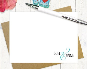 personalized note card  set - COUPLES AND AMPERSAND - set of 12 flat cards - stationery - stationary