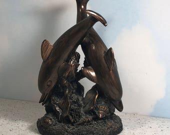 VINTAGE DOLPHIN STATUE copper bronze tone figurine sculpture coral reef porpoise marine life collectible art deco ocean 1