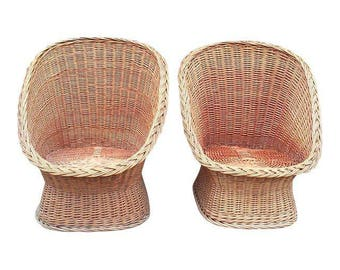 Mid-Century Wicker Scoop Chairs-A Pair