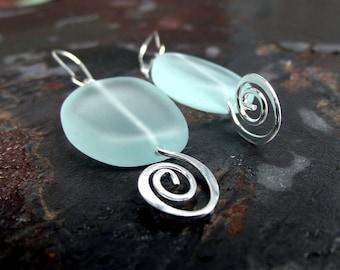 Silver Swirl Earrings:  Aqua Sea Glass Earrings, Geometric  Freeform Earrings, Seafoam Green Nautical Modern Beach Jewelry