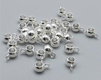 100 Pcs Silver Plated Dangle Beads ,Dangle Hangers ,Bail Beads,DIY Supplies 8mm x 6mm