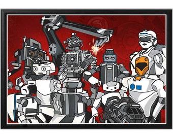Illustration, Art Print, Robotics Squad, Fine Art Print, Science Wall Art, Science Poster, Robot Science