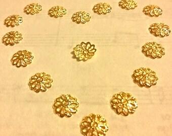 Gold Bead Caps - 100 pcs  - Filigree Bead Caps - Gold - Bead Caps - 12mm