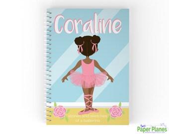 Personalized Ballerina Kids Journal, Personalized Notebook, African American Ballerina