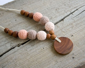 ORGANIC COTTON Teething Necklace - Peach&Mocha - Mom Necklace with Pendant, Teething Beads, New Mom Gift - NB02