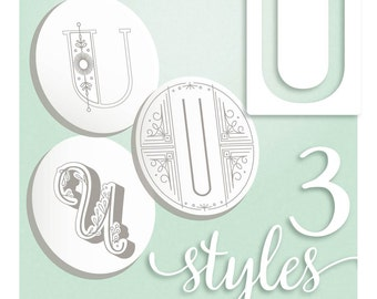 Modern Monograms Letter U hand embroidery patterns in three styles Alphabet Letter embroidery designs by SeptemberHouse
