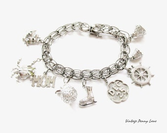Boho Vintage Charm Bracelet, Sterling Silver Chain