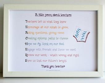 Teacher gift, A little poem about teachers, teacher gift, acrostic poem for teacher,  teacher poem, gift for teacher