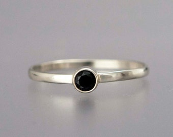 Black Diamond Ring -  Solid 14k White Gold Thin Engagement Ring with a 3mm Diamond