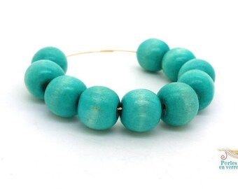 20 large wood beads round 13mm turquoise blue lagoon for Necklace (pb63)