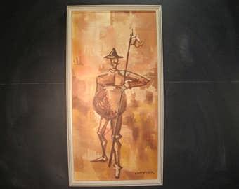 Vintage Signed Framed Acrylic Painting Don Quixote Cervantes