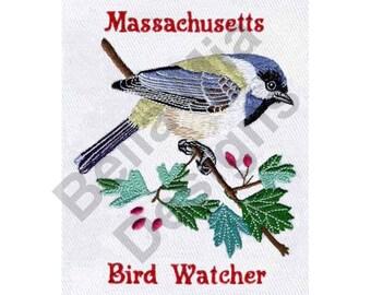 Bird - Machine Embroidery Design, Bird Watcher, Massachusetts