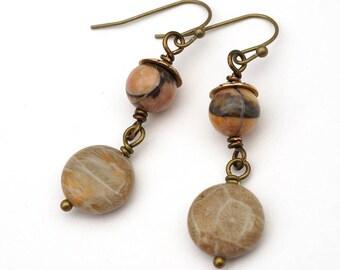 Fossilized coral earrings, Venus jasper, light earthtones grey, French hooks, brass dangle