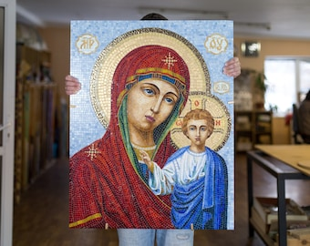Virgin Mary Mosaic / Blessed Mother /Holy Virgin / Virgin Mary Art / Holy Icon / Religious Gifts / Religious Icon Art /  Religious Pictures