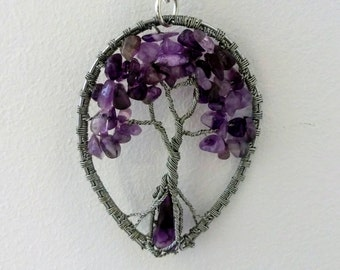 Amethyst necklace, Wire Tree of Life Bonsai Pendant, Twisted Jewelry
