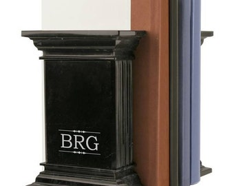Black Marble Monogram Bookends
