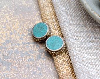 Tibetan Beads Nepal Turquoise Inlay Coin Bead Handmade Brass Flat Round Bead Focal Bead Nepalese Artisan Ethnic Tribal Beads FOZ17-1111B