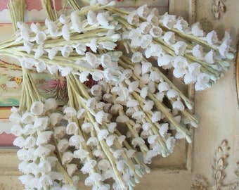 Vintage / Cotton Fabric Flowers / Lily of the Valley / Five Bunches / Aged White / French Muguet / Artificial Flowers / Circa: 1950s