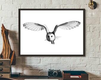 Owl Print, Poster, Printable, Print, Gift idea, Wall art, Nature Photography,