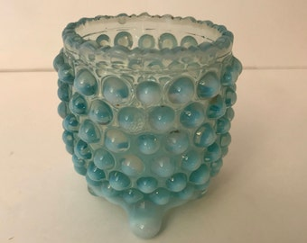 Vintage Blue Opalescent  glass toothpick holder or Votive Holder- Fenton Art Glass Company in the  Daisy and Button pattern