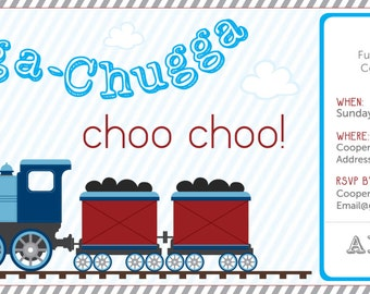 Chugga Chugga Choo Choo Birthday Invitation - Digital File