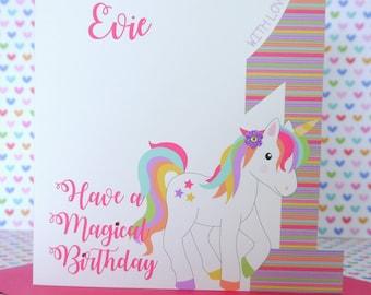 Personalised Handmade Unicorn Girls Birthday Card 1st,2nd,3rd,4th,5th Daughter, Niece, Granddaughter