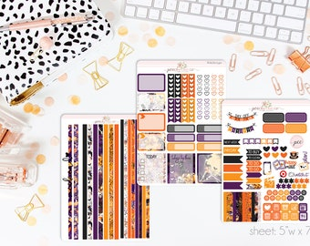 All Hallows HORIZONTAL Weekly Kit // 130+ Matte Planner Stickers // Perfect for your Erin Condren Life Planner // WKH0340