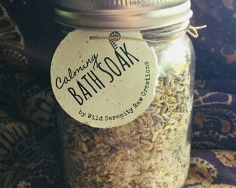 Relaxing lavender, chamomile and calendula bath soak, herbal bath tea, epsom salt for tired muscles