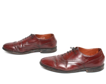mens size 10 OXFORD oxblood leather 80's WINGTIPS dress shoes made in USA