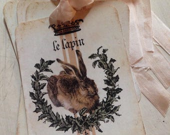Rabbit Tags Le Lapin Tags Spring Tags Easter Rabbit tags Bunny Tags Easter Basket Tags Set of 4