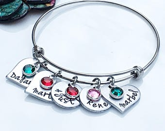 Birthday Gift for Mother, Birthday Gift for Wife, Wife Gift, Birthstone Bracelet, Personalized Charm Bracelet, Gifts for Mom, Name Bracelet