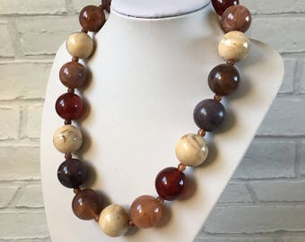 Resin Purple Shades Cream Bead Marble Necklace with Small Beads at Knotted Points Between Beads Beautiful Colours