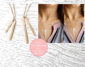 Personalized Vertical Bar NECKLACE Skinny Vertical Bar Necklace Custom Rose Gold Silver Bar Necklace Personalized Coordinate Necklace