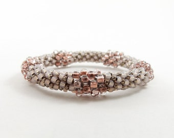Bead Crochet Bangle - Pentastic Design in Copper and Alabaster - Item 1539