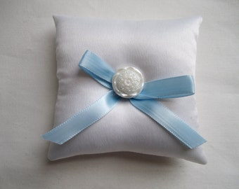 "Something Blue Ring Bearer Pillow, white blue wedding pillow, small simple bridal pillow, white button blue ribbon -- approx. 3"" square"