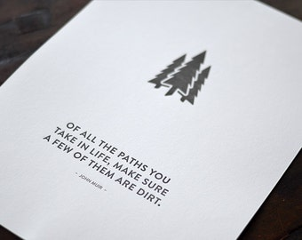 John Muir - Of All The Paths You Take Letterpress Trees Poster