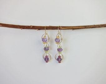Purple Amethyst, Peridot, Garnet, Citrine 14K Gold Handmade Earrings